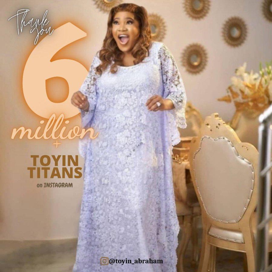 Toyin Abraham Gets Six Million Instagram