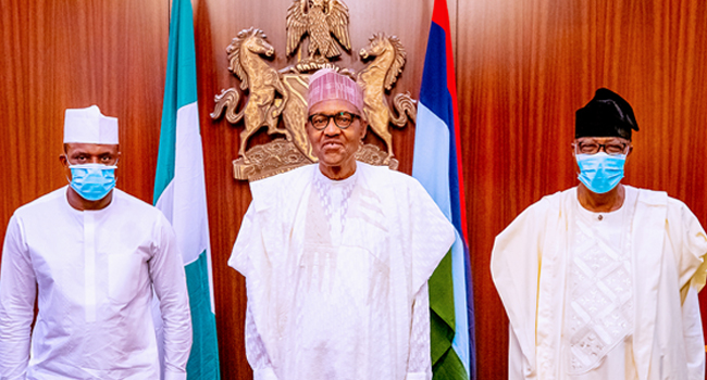 Photo: Buhari Officially Receives Gbenga Daniel, Dimeji Bankole Into APC Fold