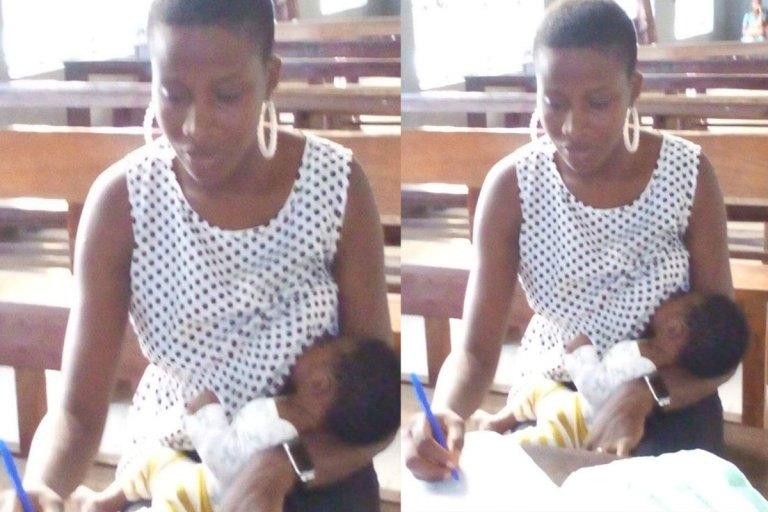 Nursing Mum Pictured Breastfeeding Her Son While Writing Exam