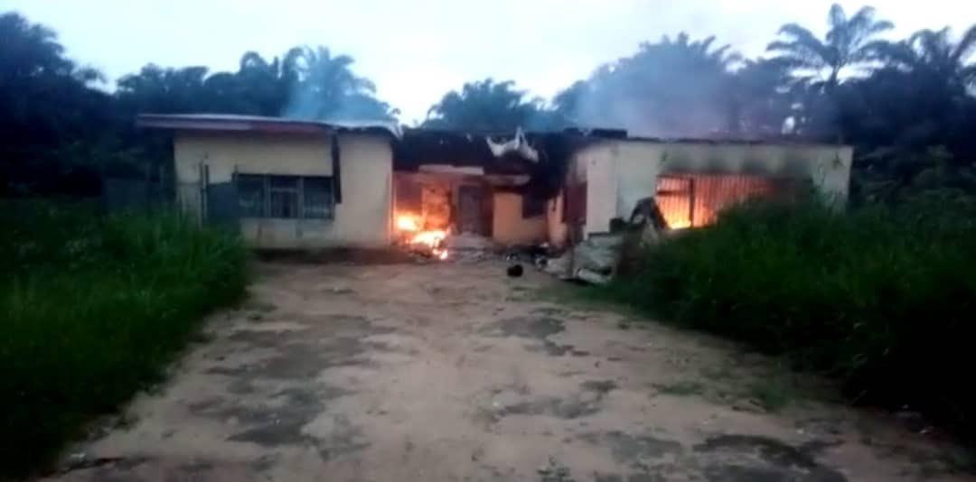 Photos: INEC Office In Akwa Ibom Set Ablaze